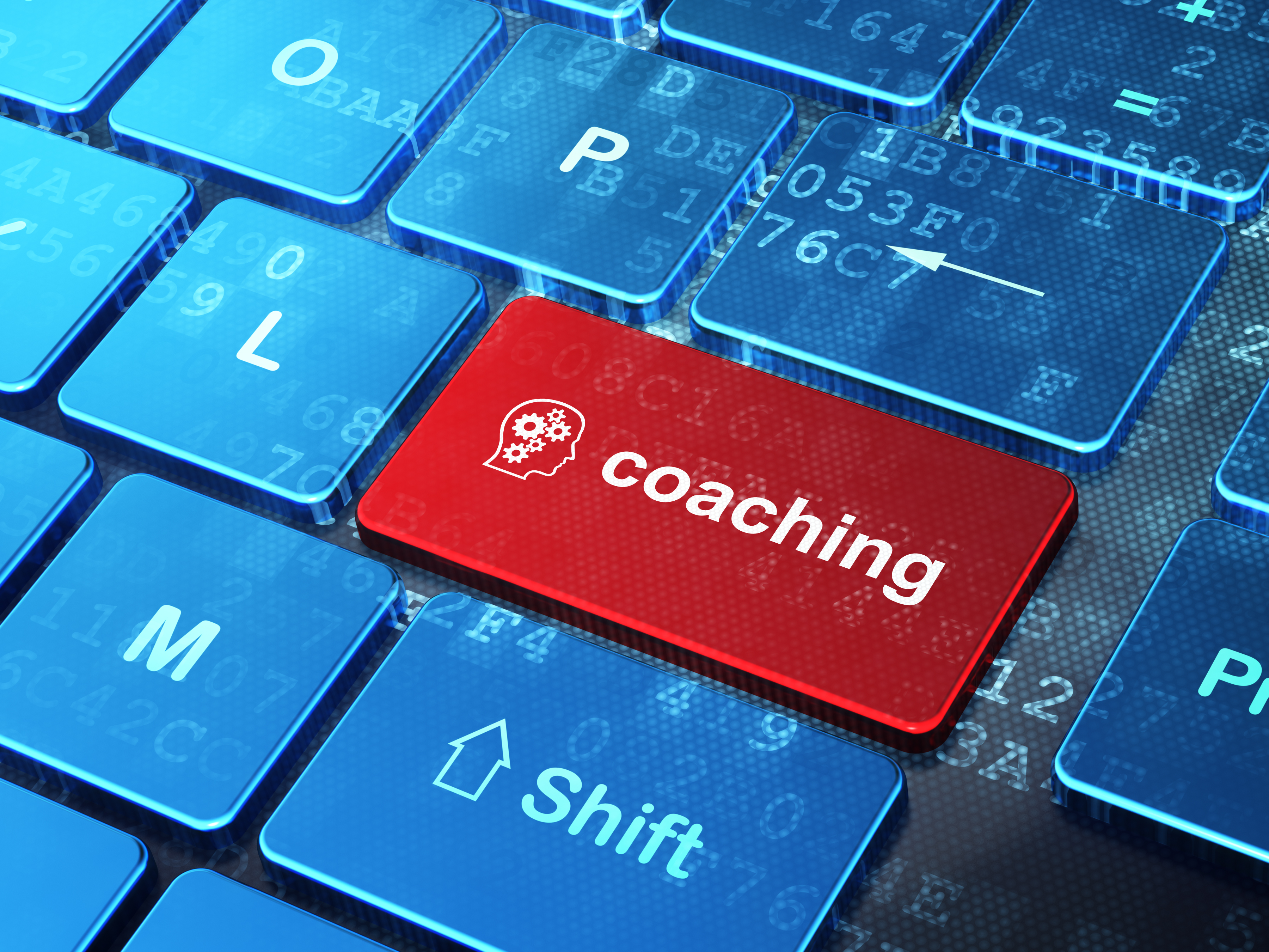 Education concept: Head With Gears and Coaching on computer keyb